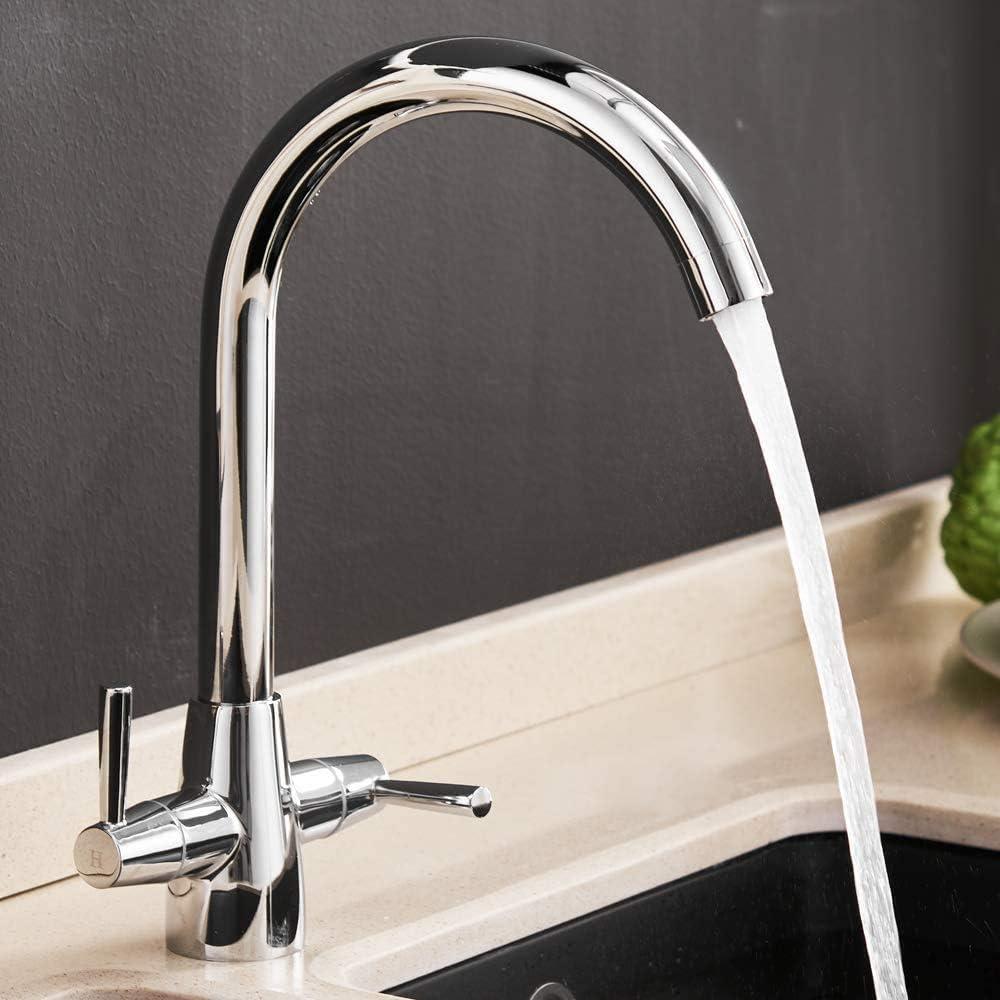 mitigeur de cuisine robinet /à levier double bec chrom/é robinet d/évier avec raccords standard UK