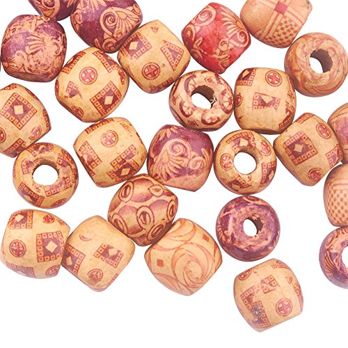 PandaHall Elite 50pcs 16mm Loose Spacer Charms with Custom Printing Round Wood Beads for Jewelry Making in 1 Box ()