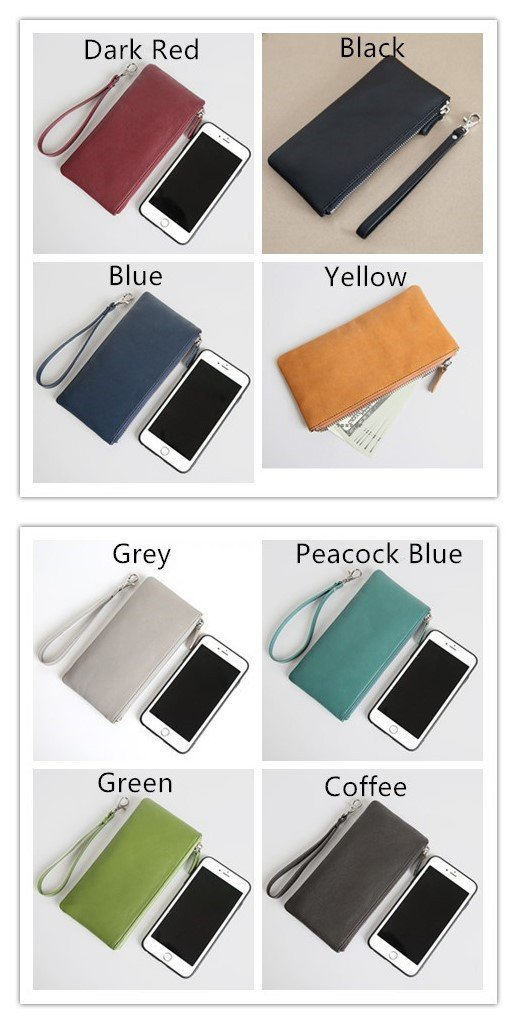 Retro soft sheepskin leather handbag clutch makeup wallet for women and men with zipper