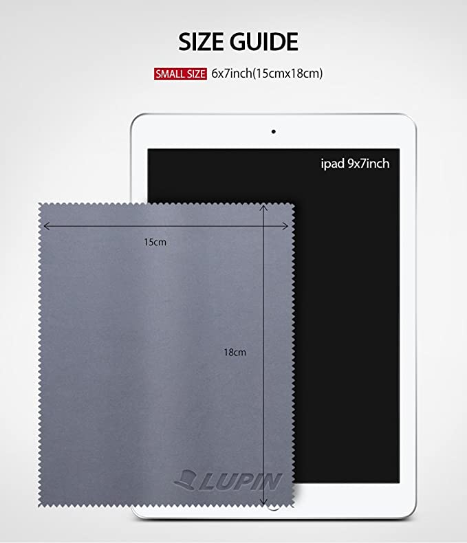 Lupin Bayeta de Limpieza de Microfibra [6 Pack] Paño de Pulido de Pelusa para Teléfono Celular, Tabletas, Computadoras Portátiles, iPad, Gafas, ...