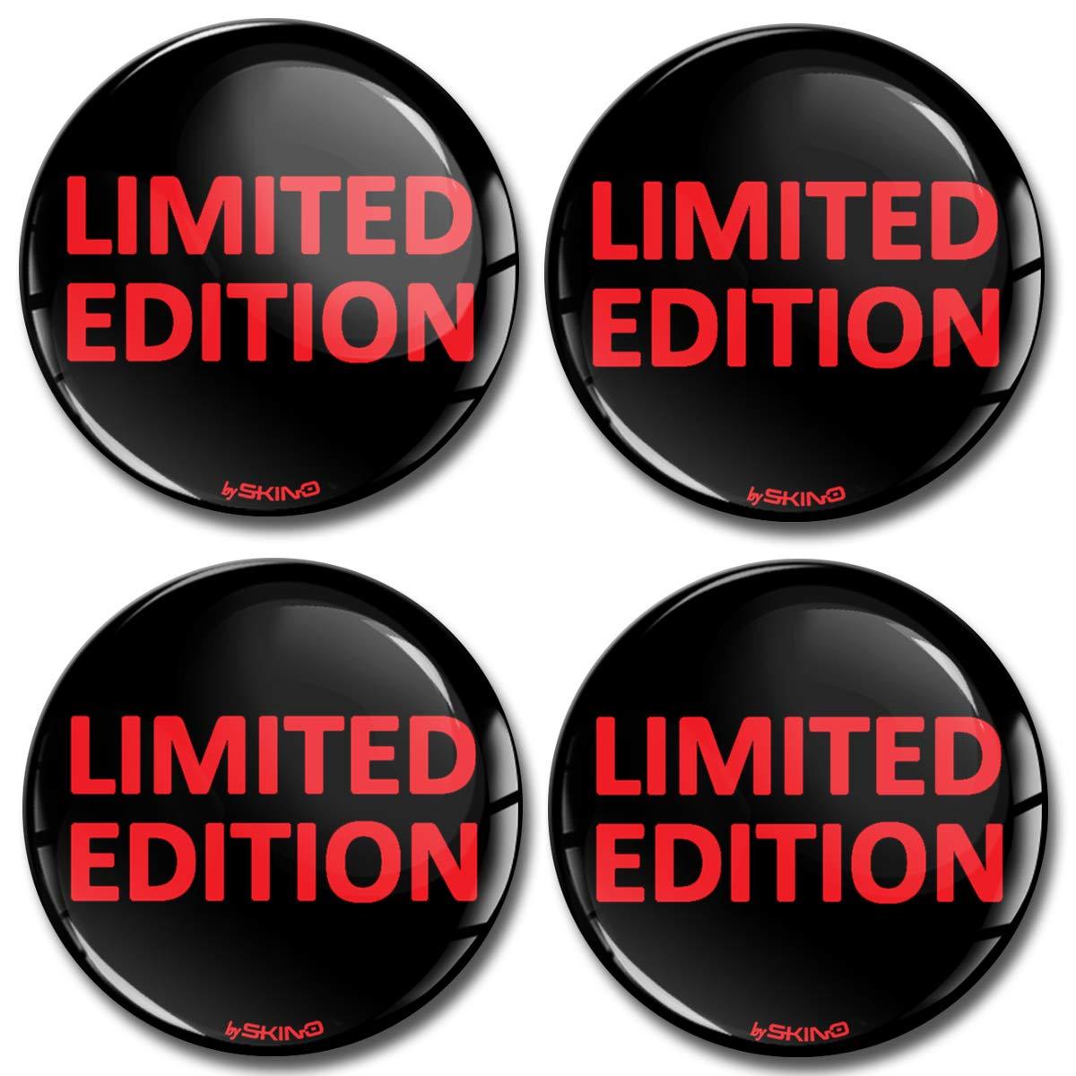 Skino 4 x 50mm Adesivi Resinati 3D Gel Stickers Auto Coprimozzi Logo Silicone Autoadesivo Stemma Adesivo Copricerchi Tappi Ruote Limited Edition Rosso A 6550