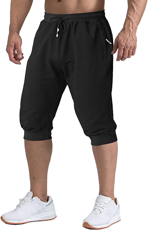 TACVASEN Men's Shorts 3/4 Jogger Capri Long Shorts Running Cotton Below Knee Pants with Pockets