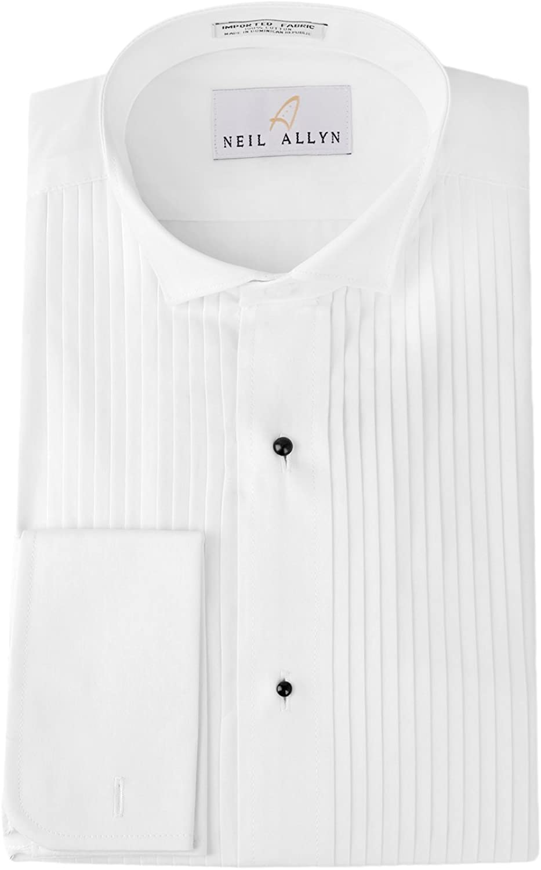 Neil Allyn Mens Tuxedo Shirt 100/% Cotton 1//4 Pleat Laydown Collar