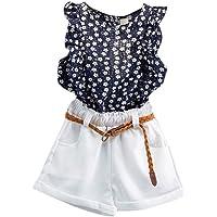 Dubocu Boys' 3Pcs Toddler Kids Baby Girls Summer Outfit Clothes T-Shirt Tops+Shorts Pants Set