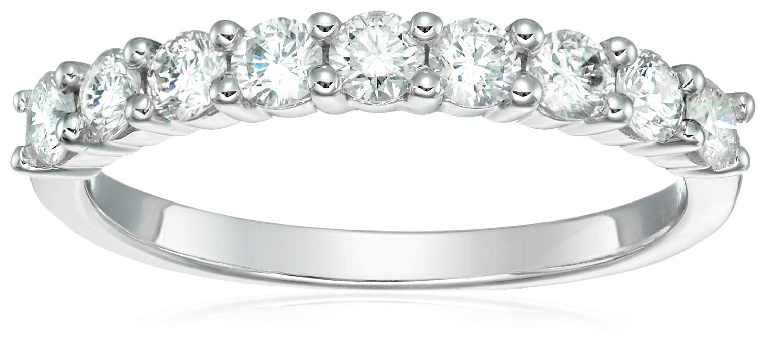 Vir Jewels 3/4 cttw Diamond Wedding Band in 14K White Gold 9 Stones Size 4.5 by Vir Jewels