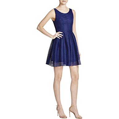 29084f767db Aqua Women s Ballet Neck Mesh Neoprene Shadow Stripe Tank Dress In Navy  Blue (Small)