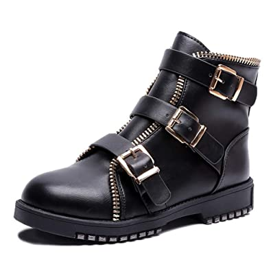 81cfb35a5d2bd Amazon.com | PU Flat Martin Ankle Boots for Women Motorcycle Boots ...