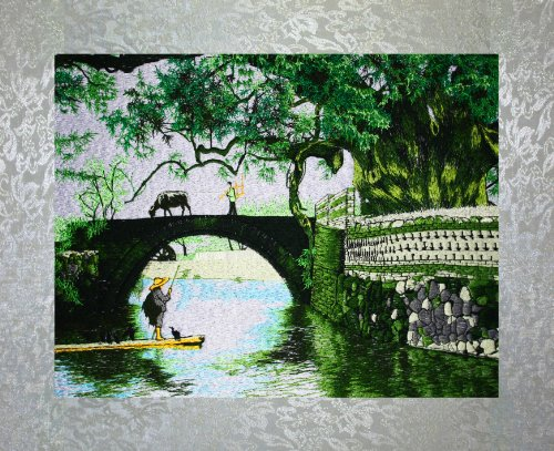 - PEA Designs, Banyan Tree and Bridge Wall Décor, Chinese Su Embroidery Pattern, Timeless Wall Hanging Artwork, Elegant Needlepoint Tapestry, Traditional Wall Art for Room Decoration, Unique Housewarming Gift Idea, 14-7/32