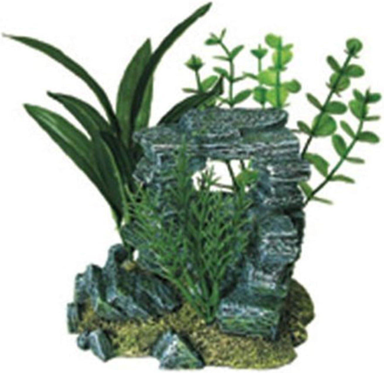 Exotic Environments Rock Arch with Plants Aquarium Ornament, Small