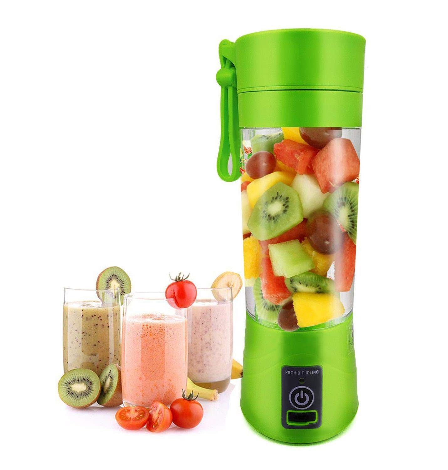 Portable USB Juicer Cup Fruit Mixing Machine Personal Size Electric Rechargeable Mixer Water Bottle 380ml with USB Charger Cable USB Mixer