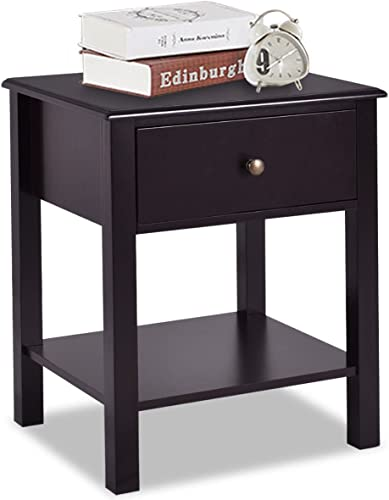 Giantex Nightstand W/Drawer and Shelf