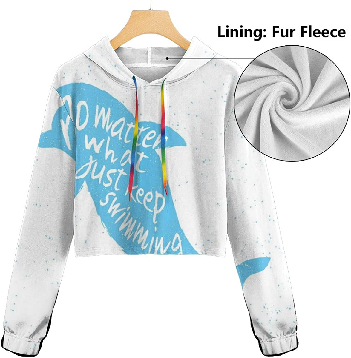 Womens Cropped Hoodie,Hand Drawn Style View with Forest Pine Trees Lake Landscape Idyllic Sketch,S-XL