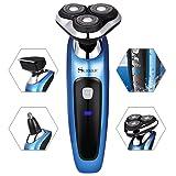 SURKER Maquinilla de Afeitar Electrica Afeitadora Barba Resistente al Agua Multifunción y Tres cabezas Giratoria