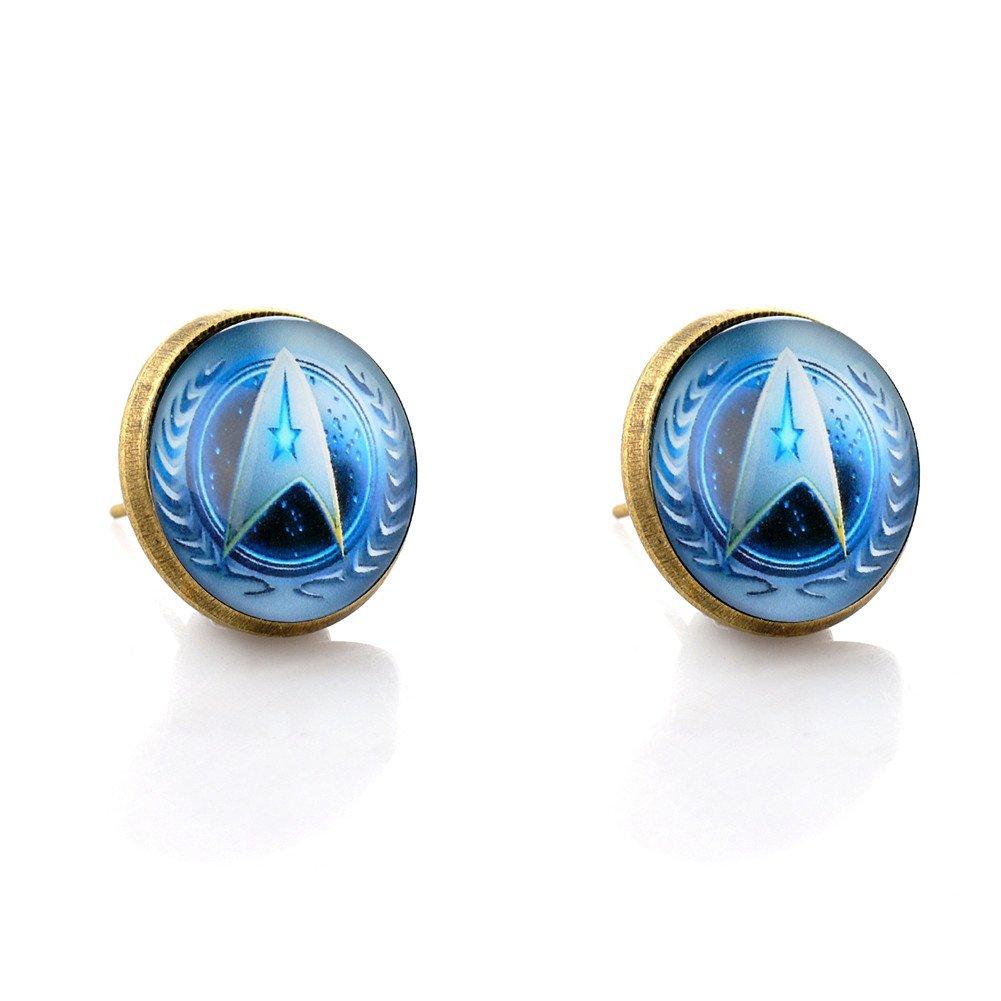 Lureme Bronze Color Glass Time Gemstone Star Trek Stud Earrings for Women and Grils (er005877) Yida