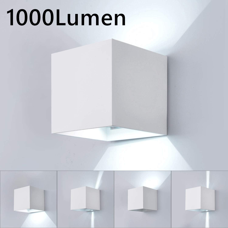 Lightess Apliques de Pared Exterior LED Lámpara de Pared Luz Moderna Impermeable IP65 Ángulo Ajustable 120 Grados Iluminación para Escalera Jardín Salón Camino Patio (blanco, blanco frío): Amazon.es: Iluminación