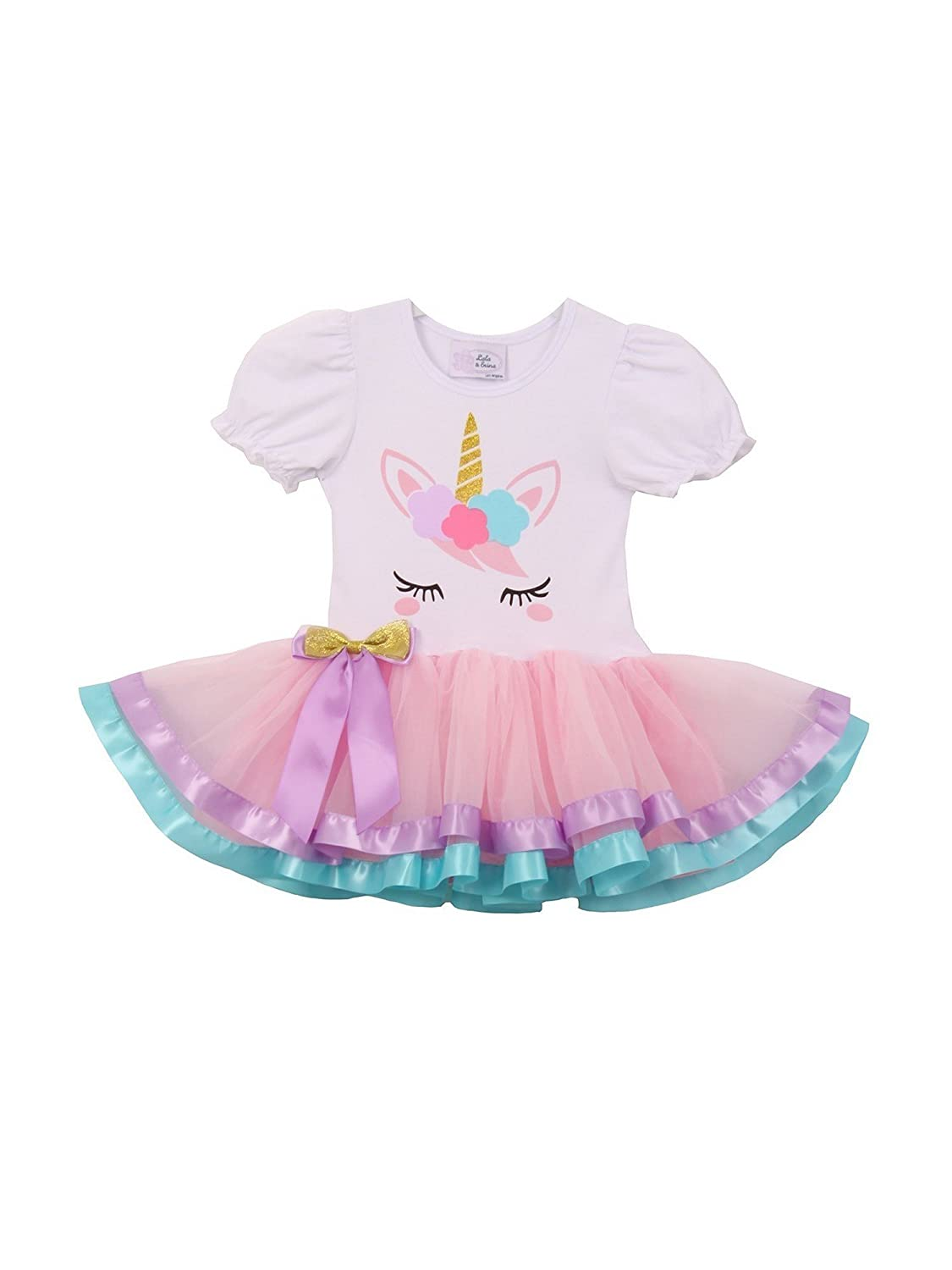 Amazon.com: Girls White Pink Unicorn Detail Tie Accent Banded Hem Tutu Dress 12M-3: Clothing