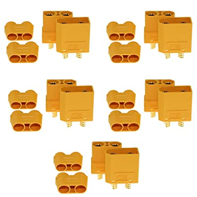 KeepFlying Amass 5 Pairs XT90 XT-90 Male Female Bullet Connectors Power Plugs with Sheath Housing for XT90 RC Lipo Battery Motor: Toys & Games