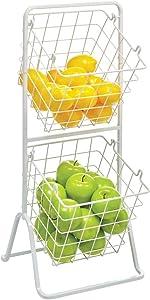 mDesign 2 Tier Angled Farmhouse Decor Metal Wire Food Organizer Tower Storage Bin Baskets for Kitchen Pantry, Bathroom, Laundry Room, Closets, Garage - Matte White