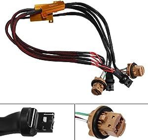 HUIQIAODS 50W 6Ohm 7443 7444NA T10 992 Led Load Resistor - Fix Headlight LED Bulb Fog Lamp Fast Hyper Flash Turn Signal Blink Light LED License Plate Lights Error Code Canbus Resistors Decoder 2PCS
