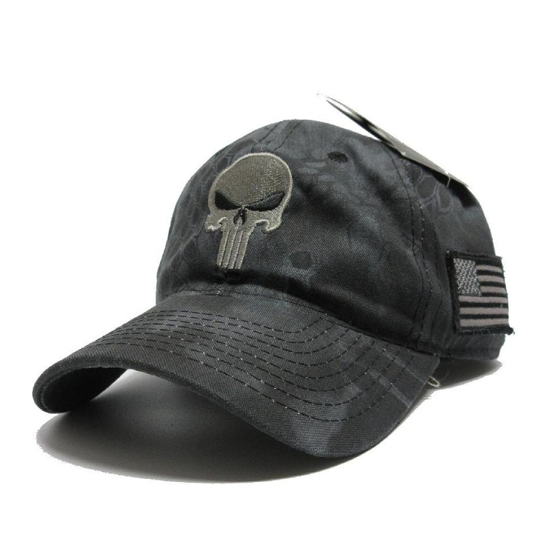 64ddd5a7b18 Military imagine Kryptek Punisher Skull camo Hat Gray w US Flag Patch Cap  Tactical at Amazon Men s Clothing store