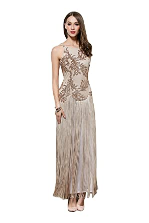 Beauty-Emily Maxi Long A-Line Sequined O-Neck Tassels Sleeveless Straps Zipper