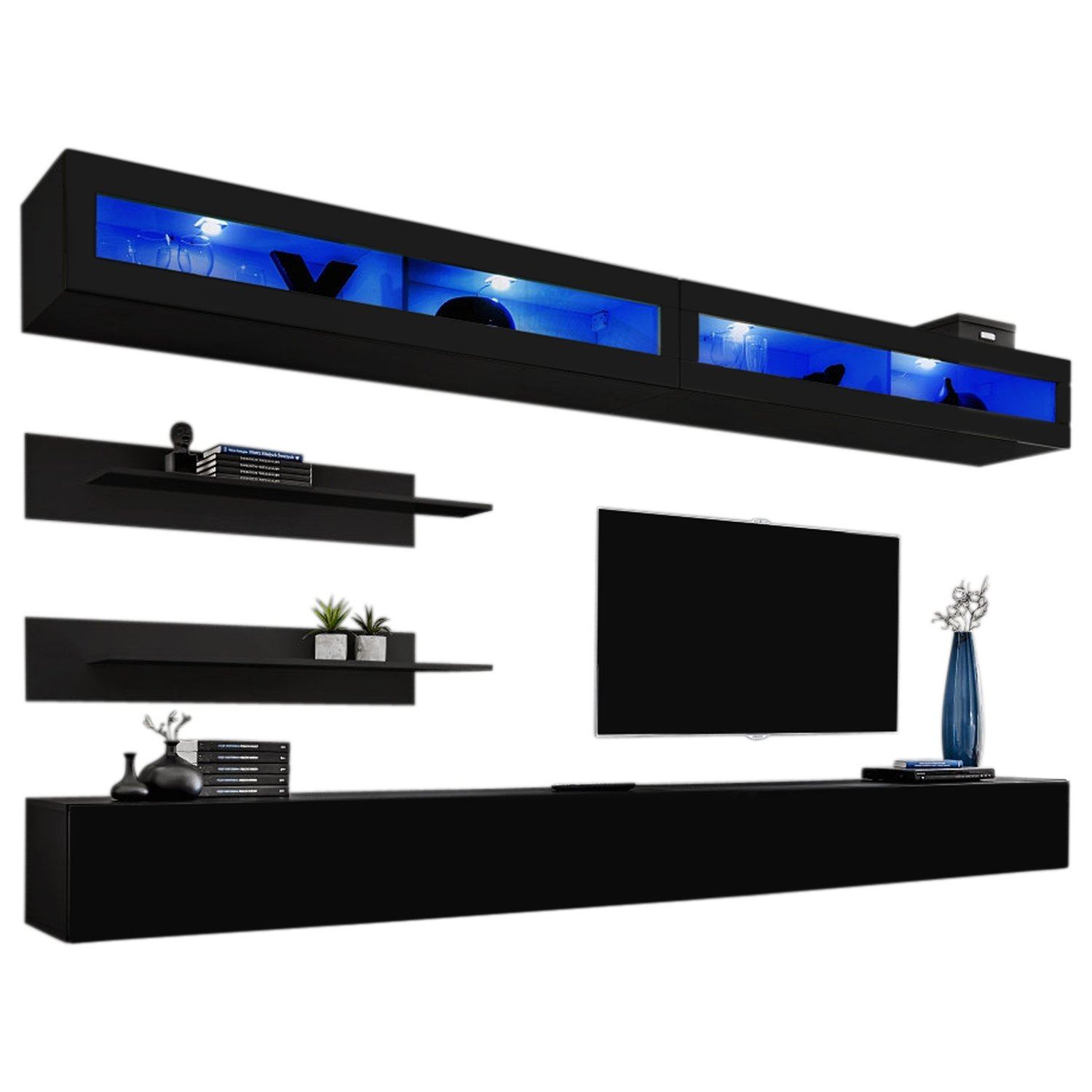 MEBLE FURNITURE & RUGS Wall Mounted Floating Modern Entertainment Center Fly I (Black, I2) by MEBLE FURNITURE & RUGS