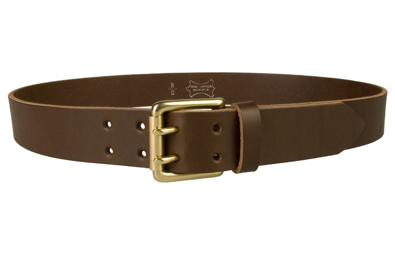 Belt Designs - Ceinture homme en cuir de qualite - doubles pointes - Boucle  en Laiton Massif - Fabrique au Royaume-Uni ... dc9f5a8e011