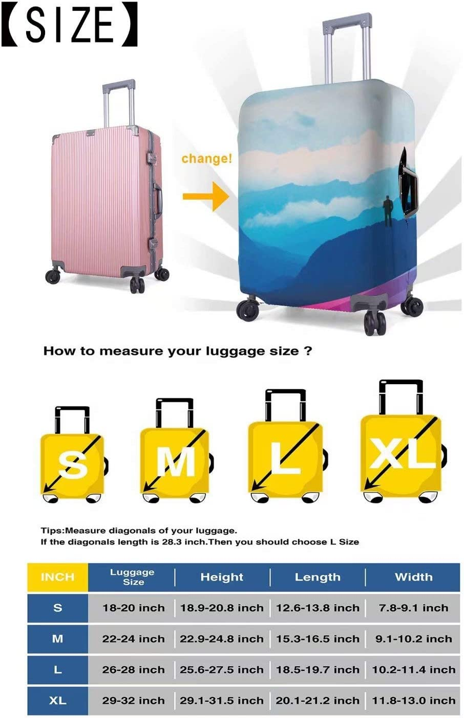 Travel Luggage Cover Protector Suitcase Washable Cover High Elasticity Gold Cheetah
