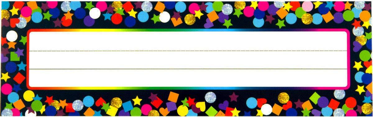 Confetti Desk Name Plate Multi-Shape Colorful Dots for School 36 Pcs