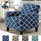 Modern Velvet Plush Strapless Slipcover. Form Fit Stretch, Stylish Furniture Shield / Protector. Magnolia Collection Strapless Slipcover by Great Bay Home Brand. (Sofa, Grey)