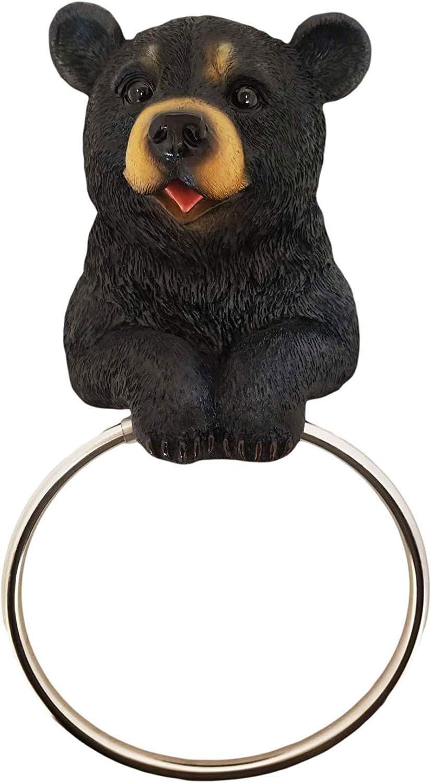 DWK 8-inch Hugo the Helper Black Bear Towel Holder Ring Rustic Woodland Forest Themed Kitchen Bathroom Cabin Decor