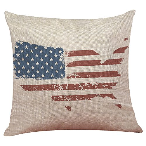 (Seaintheson Vintage American Flag Pillow Cases 18 X 18 Inch Cotton Linen Sofa Cushion Cover Home Decor Striped Printed Pillowcase)
