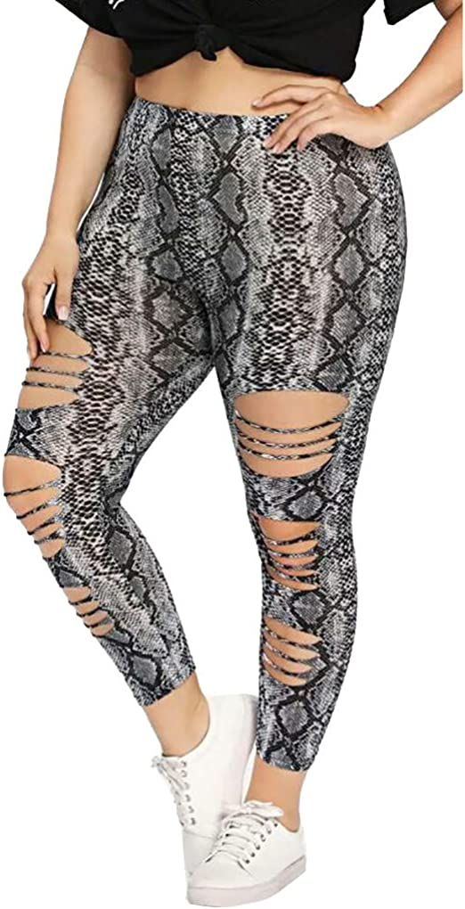 Womens Snake Printed Leggings Patterned Workout High Waisted Yoga Pants