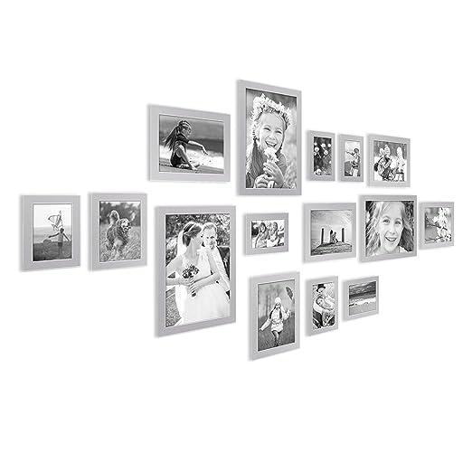 26 opinioni per Set da 15 cornici fotografiche Photolini Basic Collection Modern argento in MDF,