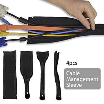 Flexible Diy Neoprene Cable Management Sleeve Zipper Wrap