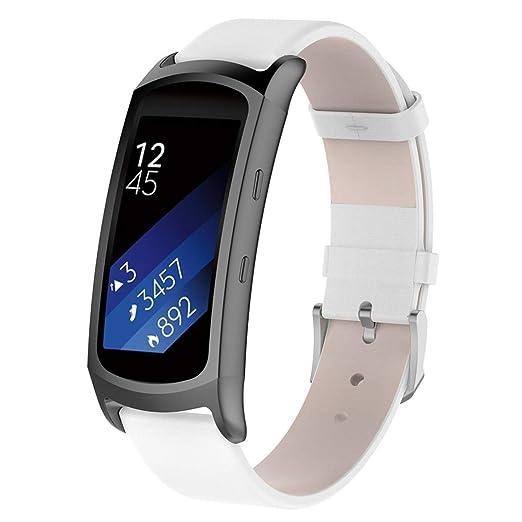 Hombre Mujer Reloj Correa De Reloj De Cuero con Adaptador para Samsung Gear Fit2 / Fit 7 Pro: Amazon.es: Relojes