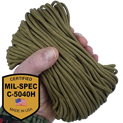 MilSpec Paracord Coyote Brown 11 Strand 110 ft. Hank. Guaranteed MIL C 5040H Compliant, Military Survival 750 Parachute Cord, Type IV. Made in U.S. 100% Nylon, 750 Lb. Break Strength, 2 Free eBooks.