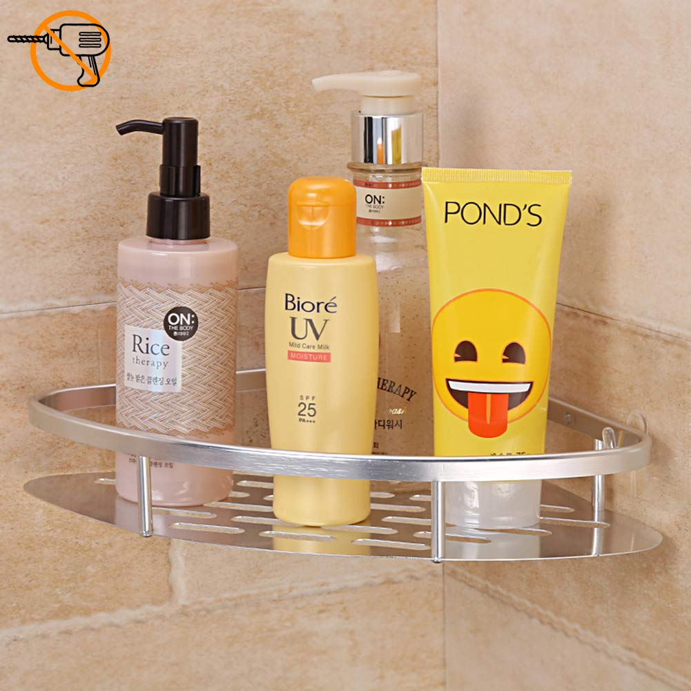 Plabingo Shower Corner Caddy,Self Adhesive Triangle Bathroom Shelf,Wall Mounted Shower Caddy Storage Basket for Shampoo, Conditioner, Soap, No Drilling & Nailing,Silver, TZ-5092, Aluminum