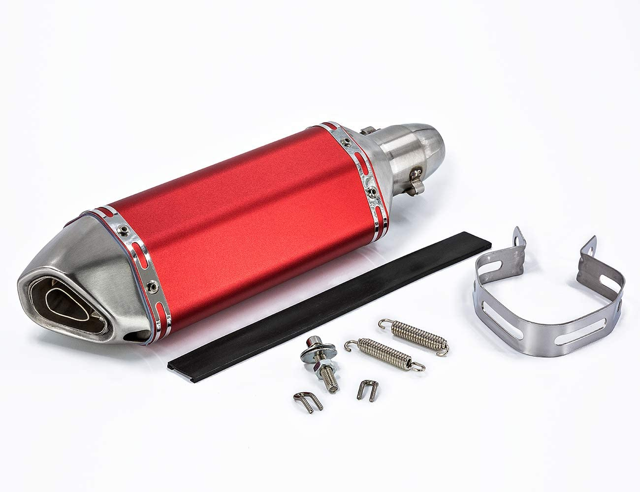 Neeknn Universal Red 1.5-2 Inlet Motorcycles Scooters Exhaust Muffler Pipe with Removable DB Killer for Dirt Bike Street Bike Scooter ATV Racing