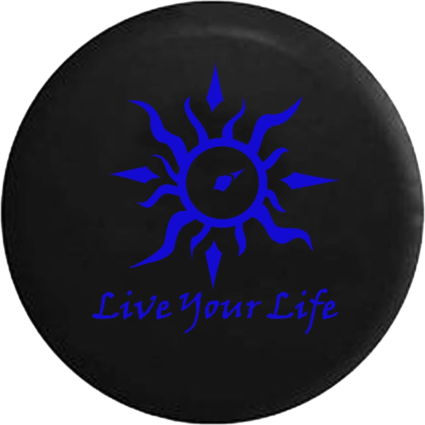 Live Your Life Tribal Sun Compass Spare Tire Cover fits SUV Camper RV Accessories White Ink 32 in