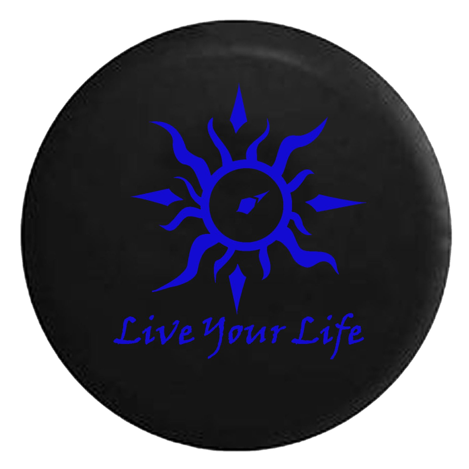 Live Your Life Tribal Sun Compass Spare Jeep Wrangler Camper SUV Tire Cover Blue Ink 31 in