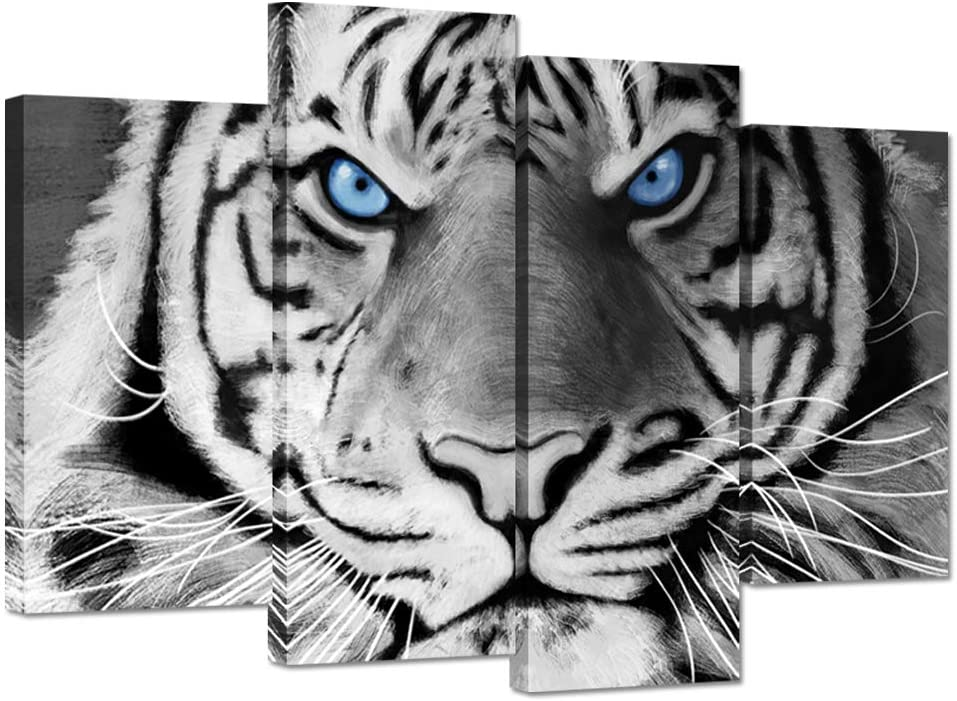 ZingArts 4 Panel Animal Canvas Wall Art Black And White Ferocity Tiger With Blue Eyes Wildlife Picture Painting on Canvas Stretched And Framed For Home Office Bedroom Decor Ready To Hang