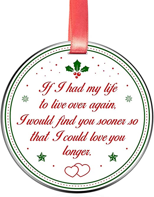 Tree Hanging Keepsake Ornaments for Couple Boyfriend When I Tell You I Love You I Dont Say It Out of Habit 3 inch Flat Stainless Steel Elegant Chef Family Love Romantic Gift Christmas Ornament