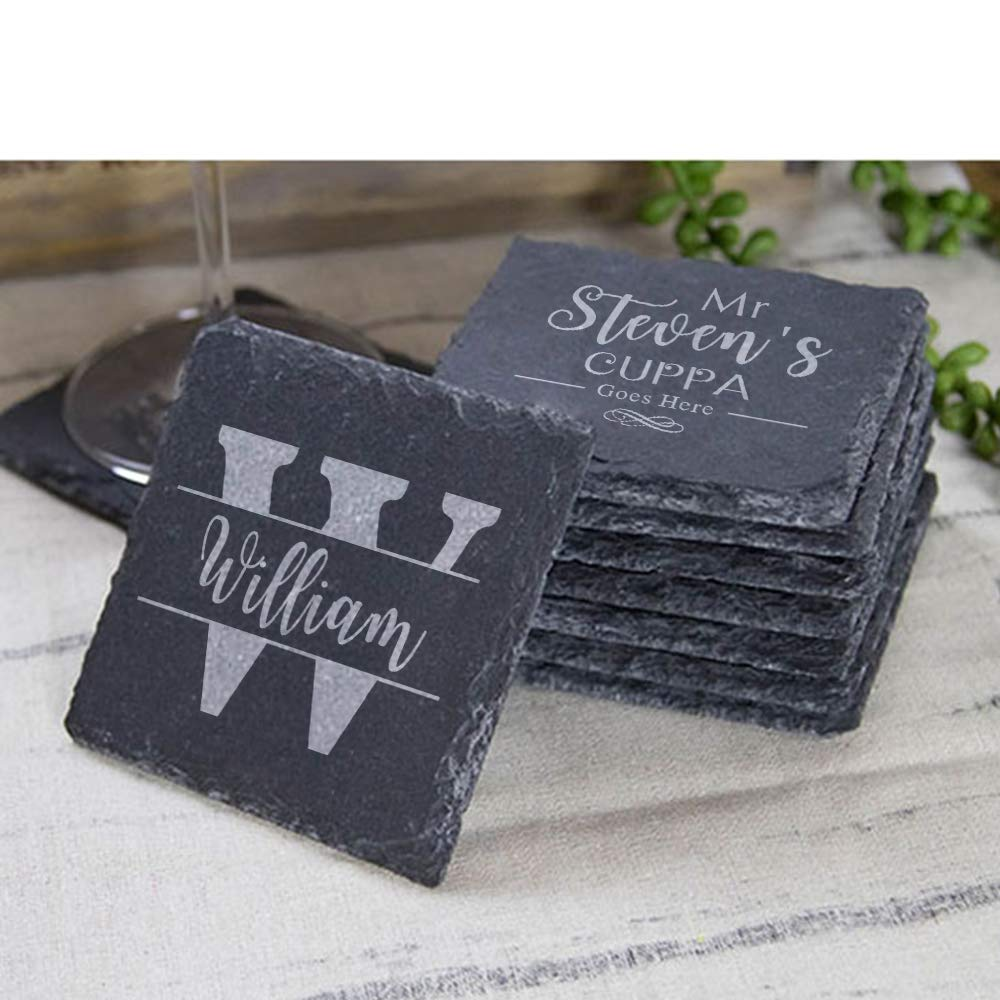 Any Engraving with Name and Drink Birthday Gift End of Term School Leaving Thank You Teachers Gift Personalised Engraved Square Slate Coaster Gift Graduation Leaving Gift
