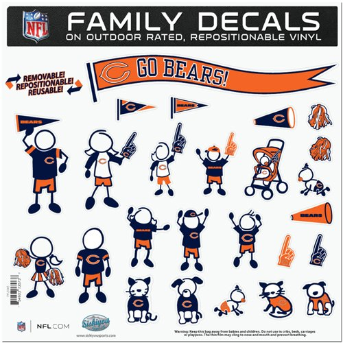 BSS - Chicago Bears NFL Family Car Decal Set (Large) (Large Chicago Bears Window Decal compare prices)