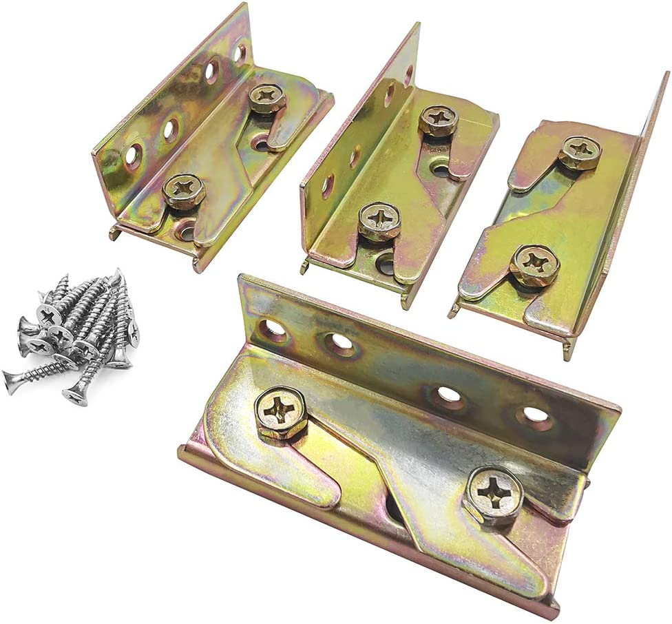 Bed Rail Brackets - Bed Rail Fittings - Heavy Duty Non-Mortise - Set of 4 (Screws Included),Bed Rail Fittings Wooden Bed Frame Connectors with Screws for Headboards Footboards Hold