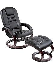 TecTake 401555 - Fauteuil Relax TV avec Pouf, Pivotant à 360°, Rembourrage Confortable et Doux