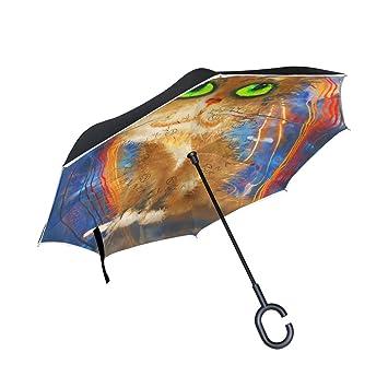 Mi Diario Doble Capa Paraguas invertido coches Reverse paraguas gato y reflexión Halloween resistente al viento