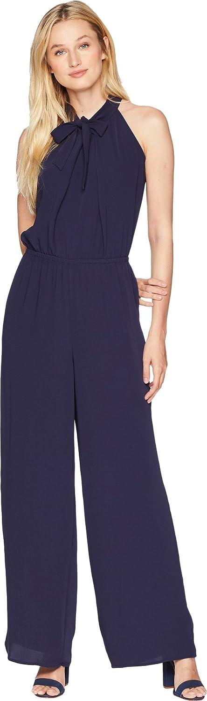 6f408b6e205b Amazon.com  CeCe Women s Tie Neck Crepe Jumpsuit  Clothing