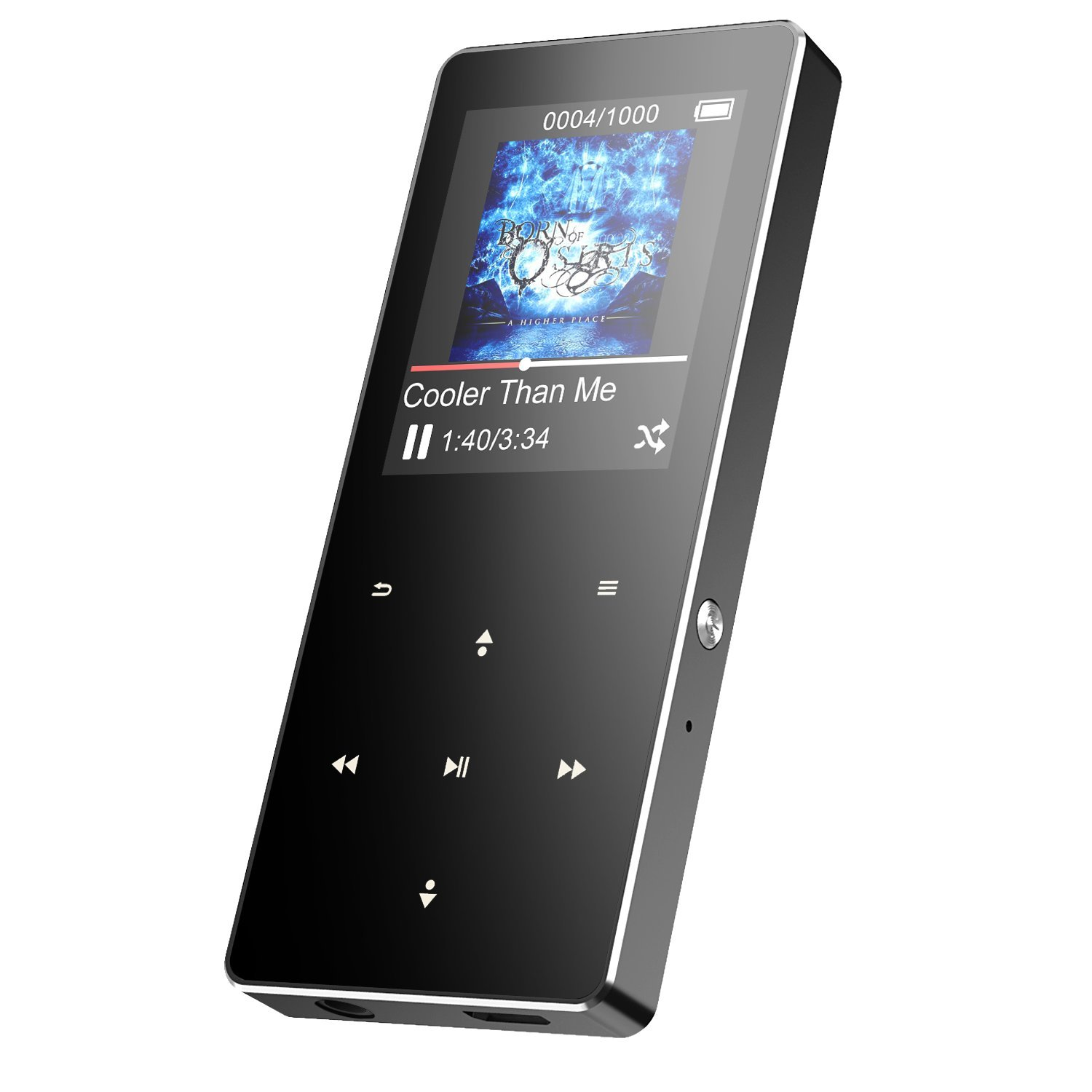 AGPTEK B05ST 16GB Bluetooth Metal MP3 Player with Touch Button, FM Radio/Voice Recorder, 1.8in TFT Color Screen, Support up to 128 GB, Grey